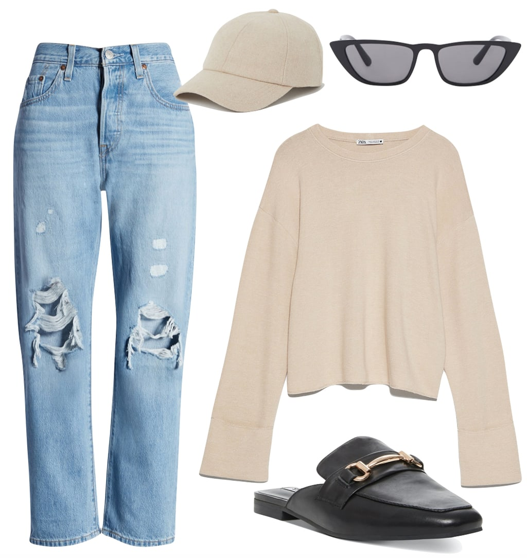 Sofia Richie style Outfit #1: ripped straight leg Levi's jeans, nude colored baseball cap, black cat eye sunglasses, beige sweatshirt, and black and gold buckled loafer mules