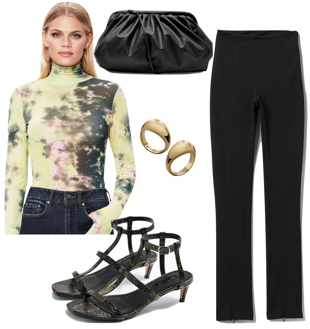 Sofia Richie Outfit #2: lime tie-dye mesh turtleneck top, black jersey pants, black slouchy faux leather clutch bag, gold dome rings, and snakeskin t-bar sandals