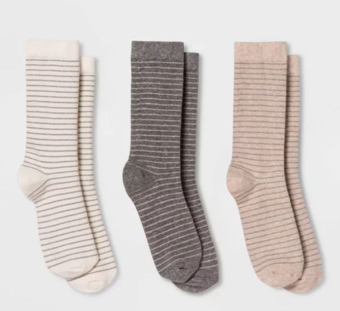 Winter accessories we love: Set of Three Striped Cozy Socks at Target