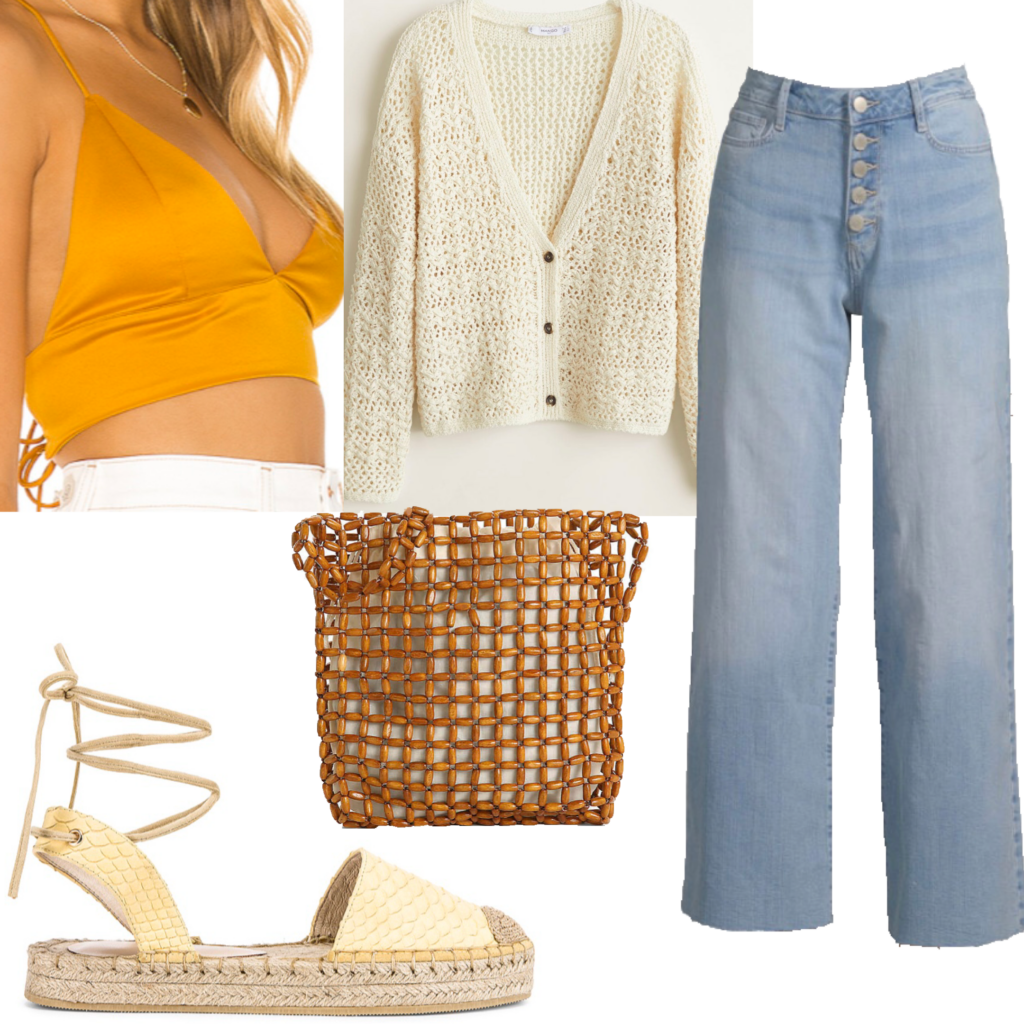 Outfit set featuring wide leg light wash flare jeans, crop top, cardigan, woven bag, and espadrilles