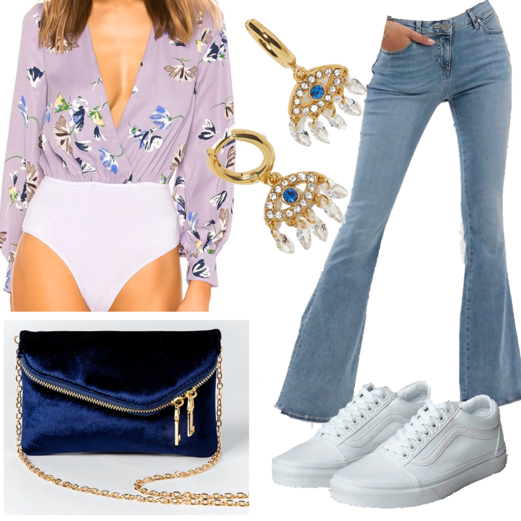 Flared jeans outfit featuring light wash flare jeans, floral bodysuit, evil eye earrings, blue chain strap bag, and vans
