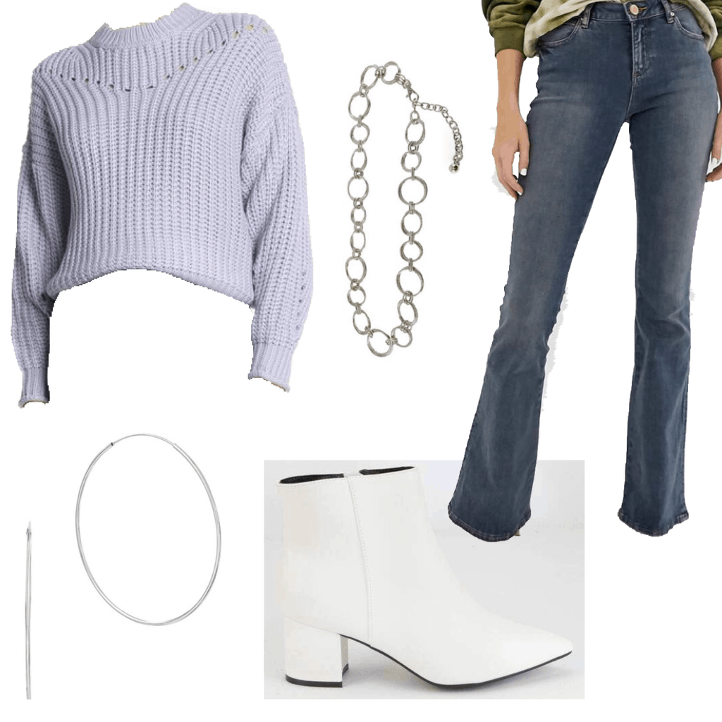 Outfit set with dark wash flare jeans, cropped sweater, white boots, hoops