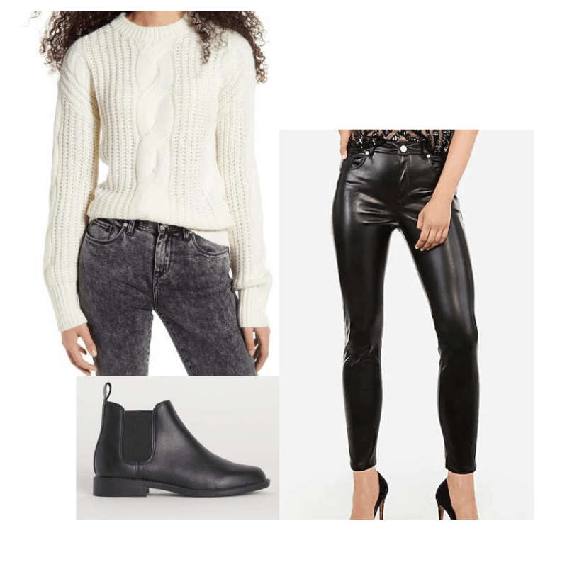 Cable knit sweater styled with faux leather pants and ankle boots
