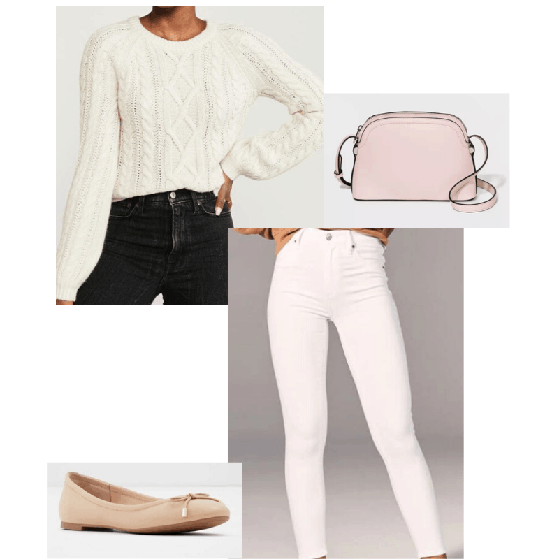 White cable knit styled with white jeans,  blush purse and nude ballet flats