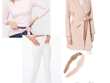 Pink long sleeve, white jeans, and pink coat styled with white sneakers and a headband