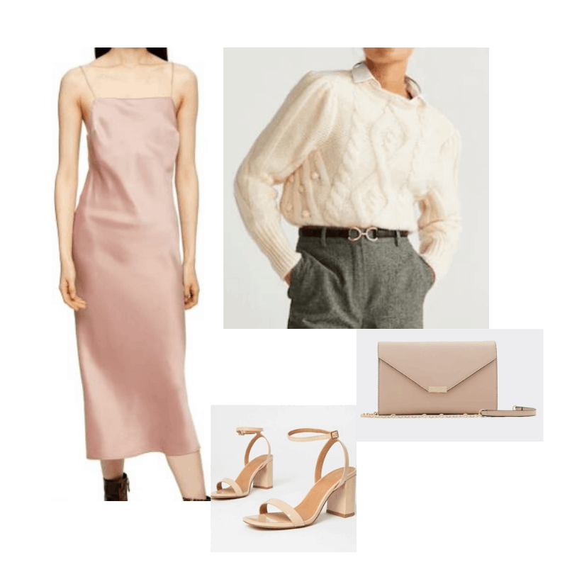 Slip dress with cable knit, strappy heels, and a clutch