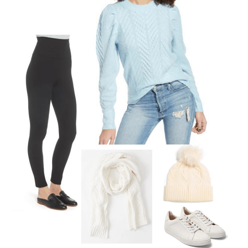 Cozy cable knit styled with leggings, beanie, scarf, and sneakers