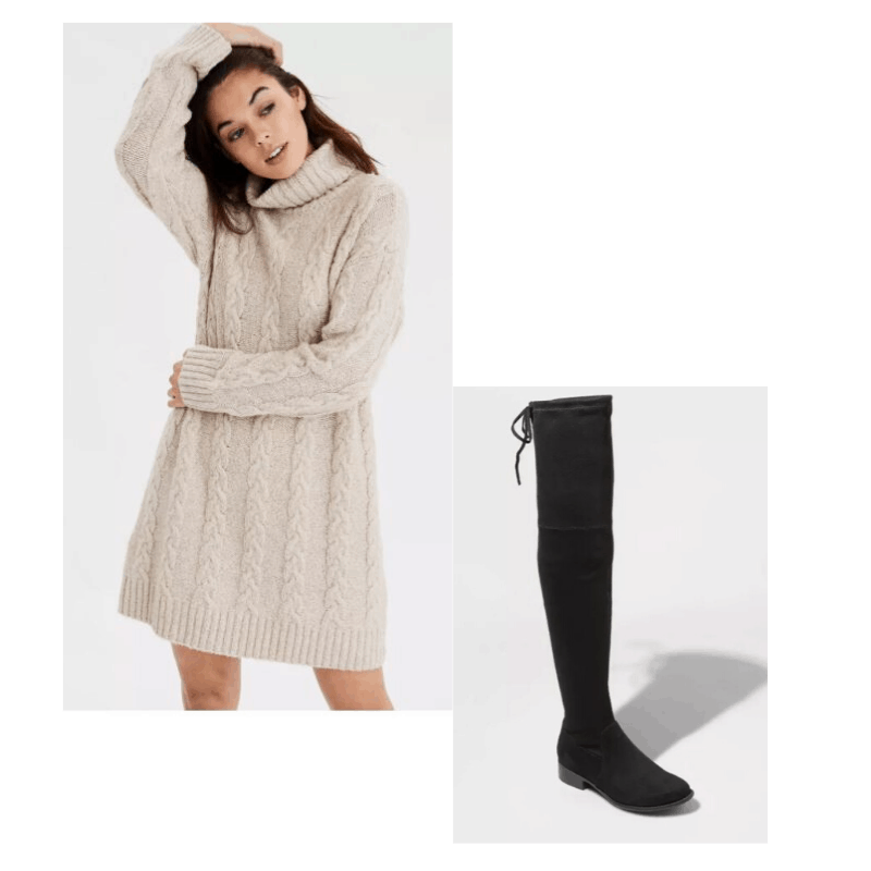 Cable knit sweater dress with OTK boots