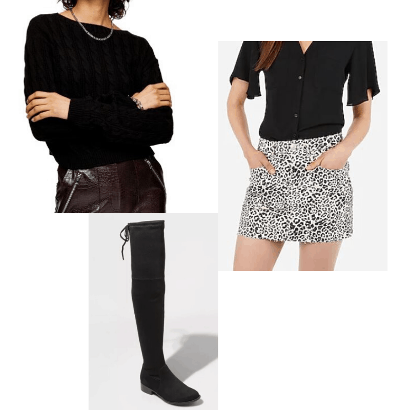 Black cable knit sweater styled with a leopard mini and OTK boots