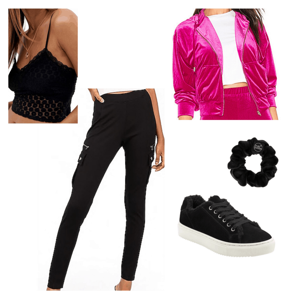 Cute school outfits for high school and college: All black outfit with a pink jacket and black sneakers