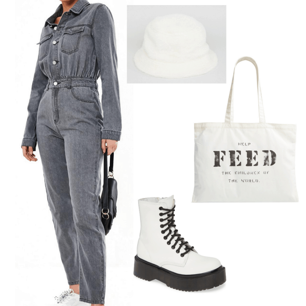 Boiler suit outfit for school with denim boiler suit, tote bag, bucket hat, chunky white boots