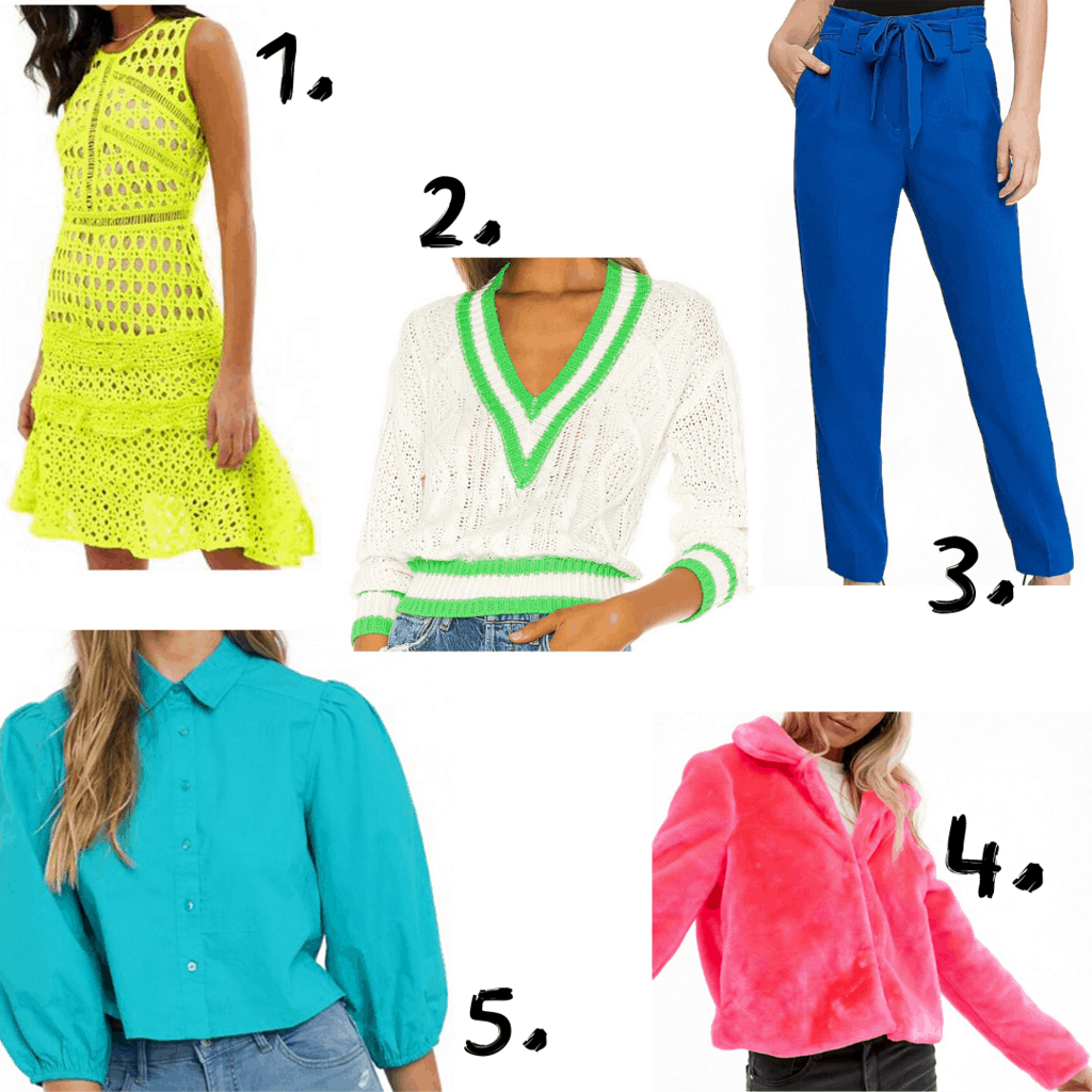 Bold color statement clothing items