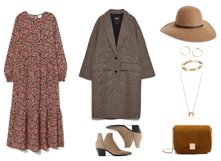 How to Wear Boho Prairie Dresses When It's Cold Out | Outfit #1: floral patterned peasant dress, long oversized plaid coat, wide-brim felt hat, and accessories