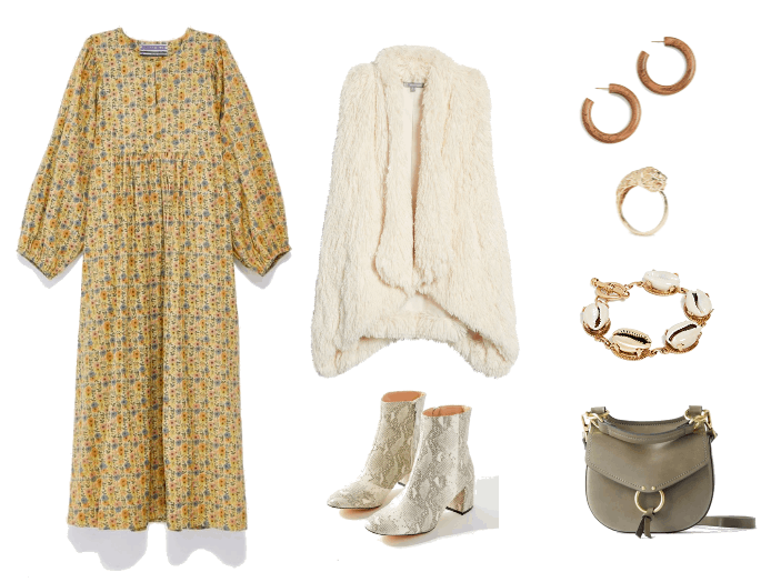 How to Wear Boho Prairie Dresses When It's Cold Out | Peasant Dress Outfit #2: long yellow peasant dress, white fur vest, snakeskin booties
