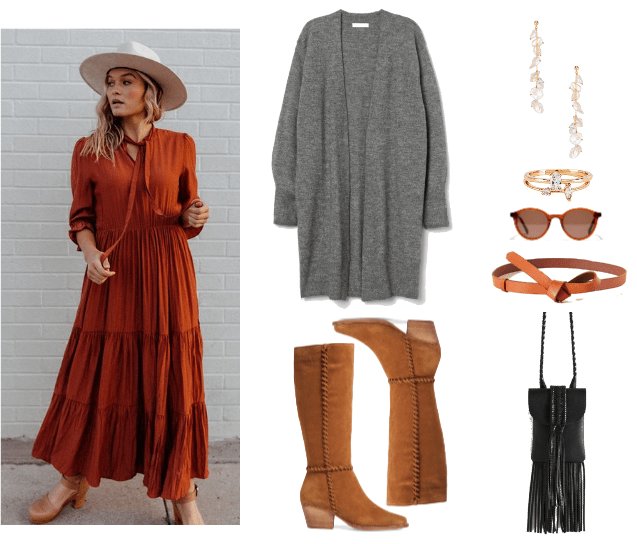 How to Wear Boho Peasant Dress Outfits When It's Cold Out | Outfit #3: long burnt sienna maxi dress, tall brown boots, long grey cardigan