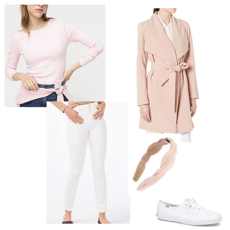 Feminine fall outfit - Pink long sleeve, white jeans, and pink coat styled with white sneakers and a headband