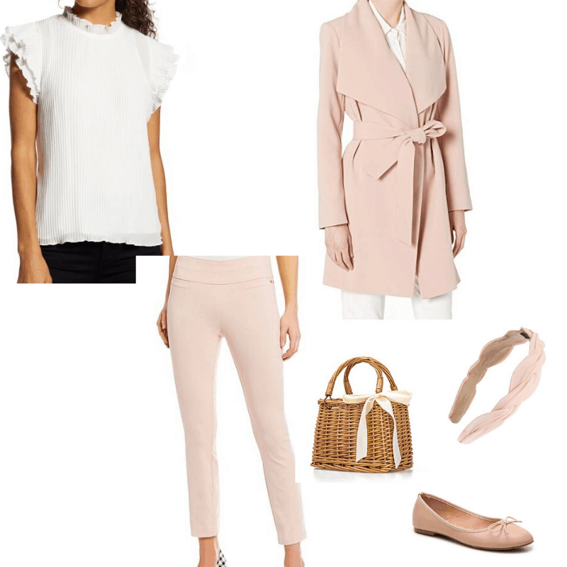 Feminine capsule wardrobe - spring outfit. White blouse and pink pants styled with a pink wrap coat. Accessorized with ballet flats, a basket bag, and headband