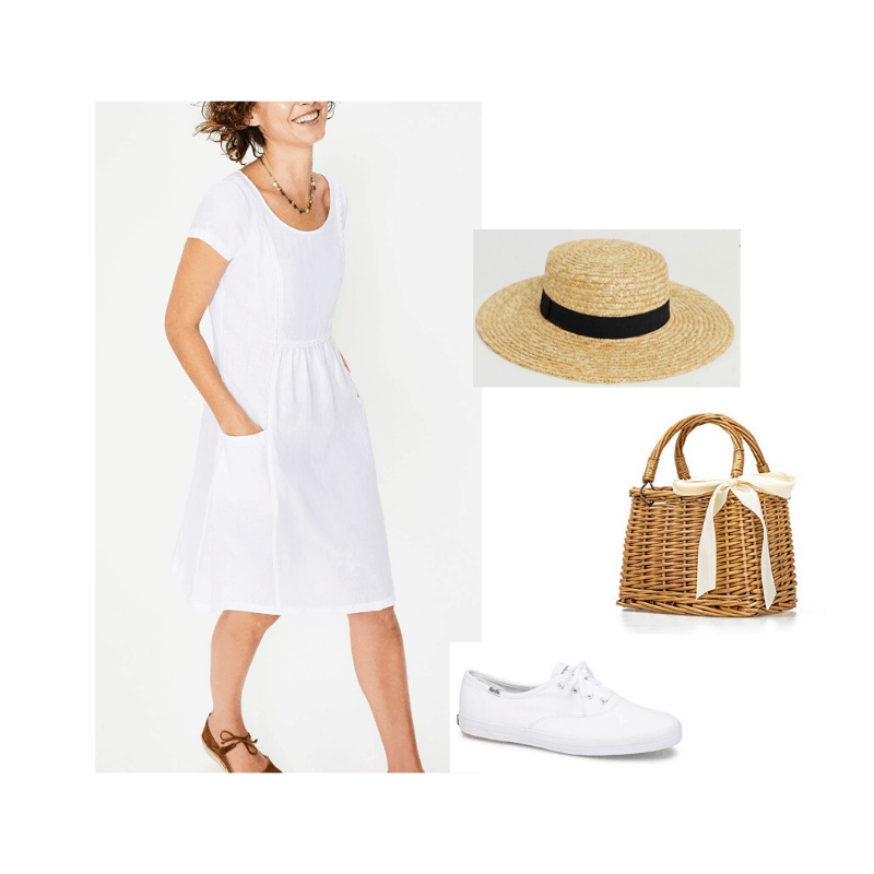 Feminine capsule wardrobe - summer outfit. White dress and sneakers styled with a boat hat and basket bag