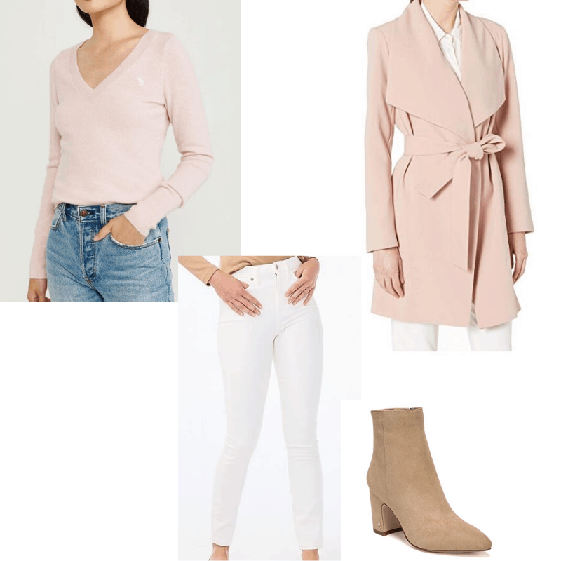 Feminine capsule wardrobe - winter outfit. Pink sweater and white jeans styled with a pink wrap coat and booties