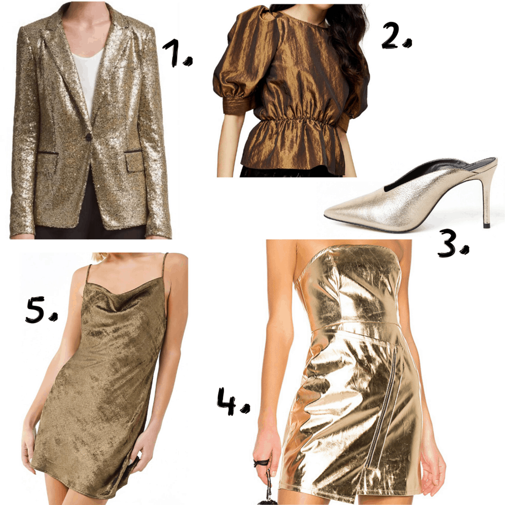 Gold colored clothing items