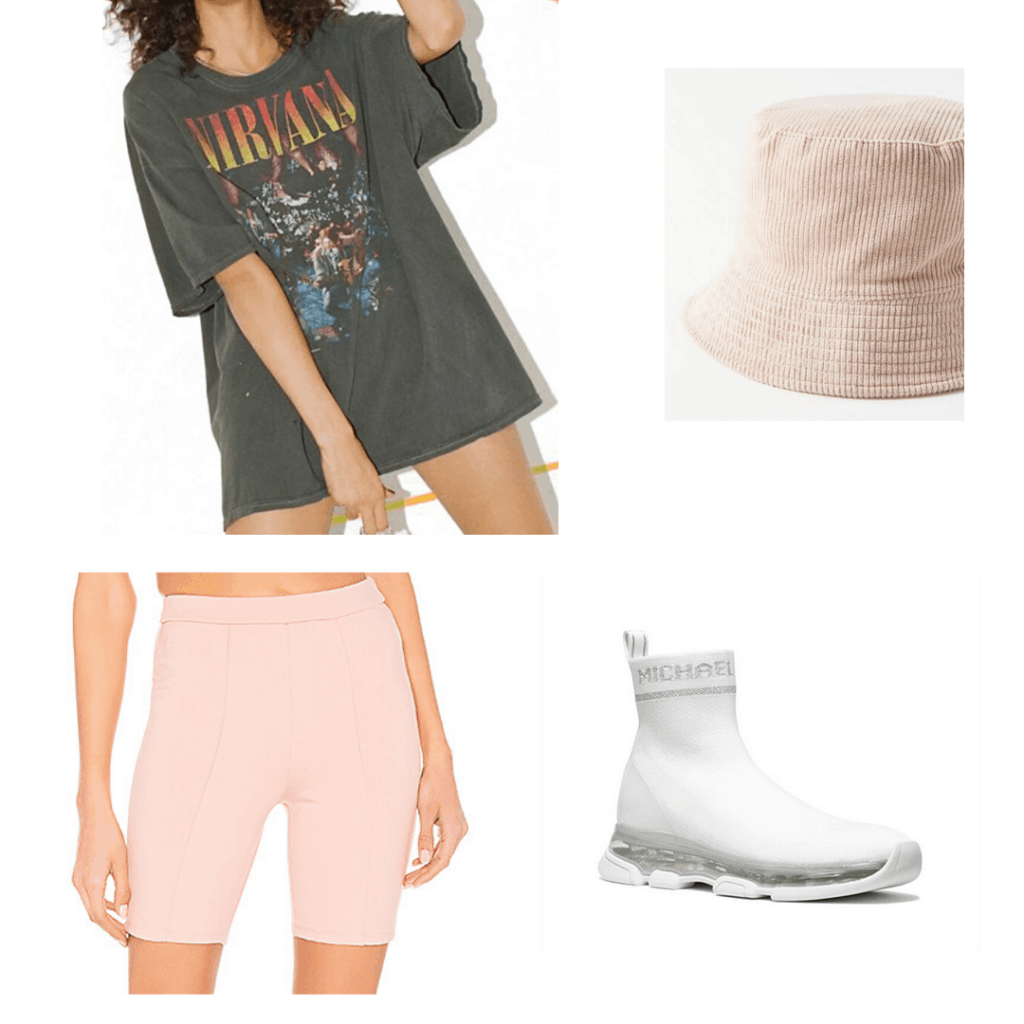 Comfy outfits for school: Oversized tee shirt, bike shorts, bucket hat, and athletic sneakers