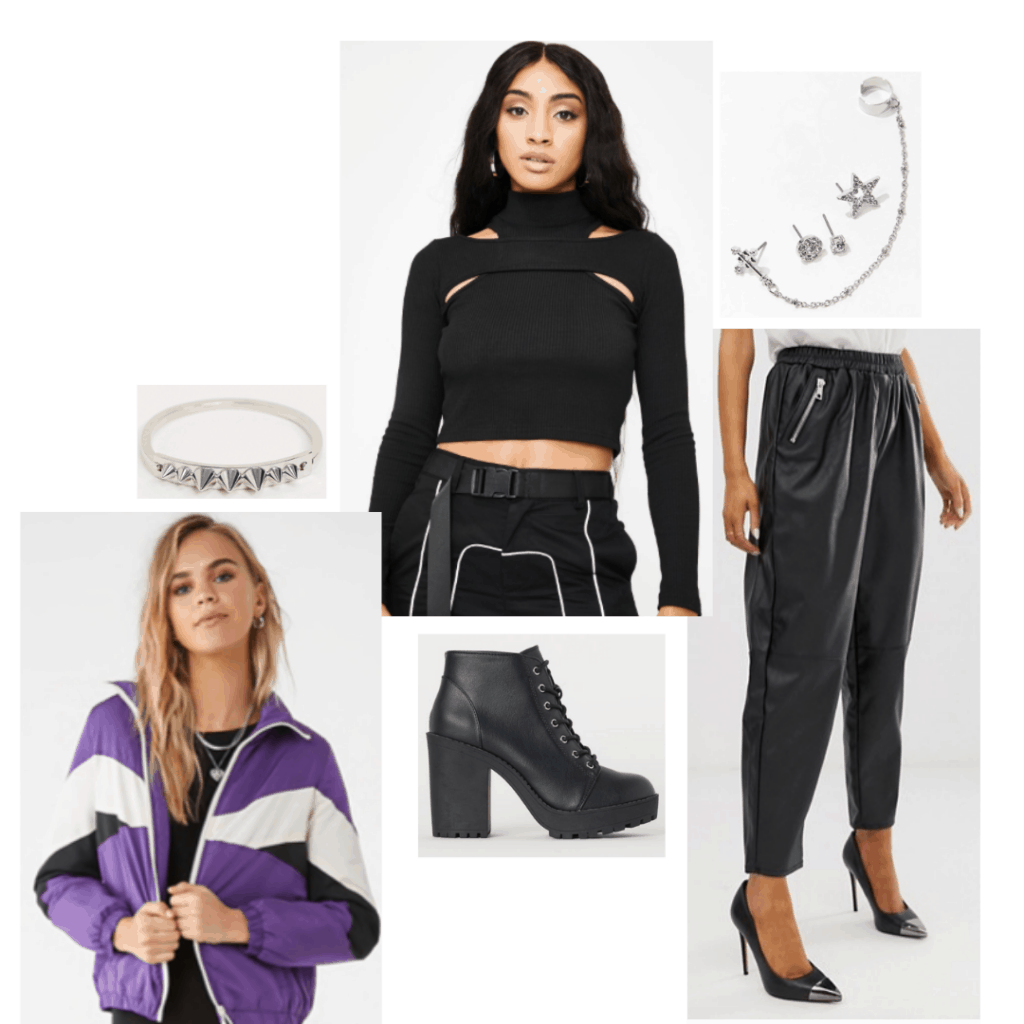 Birds of Prey fashion - outfit inspired by Huntress with black crop top, purple jacket, leather joggers, chunky heel boots and jewelry