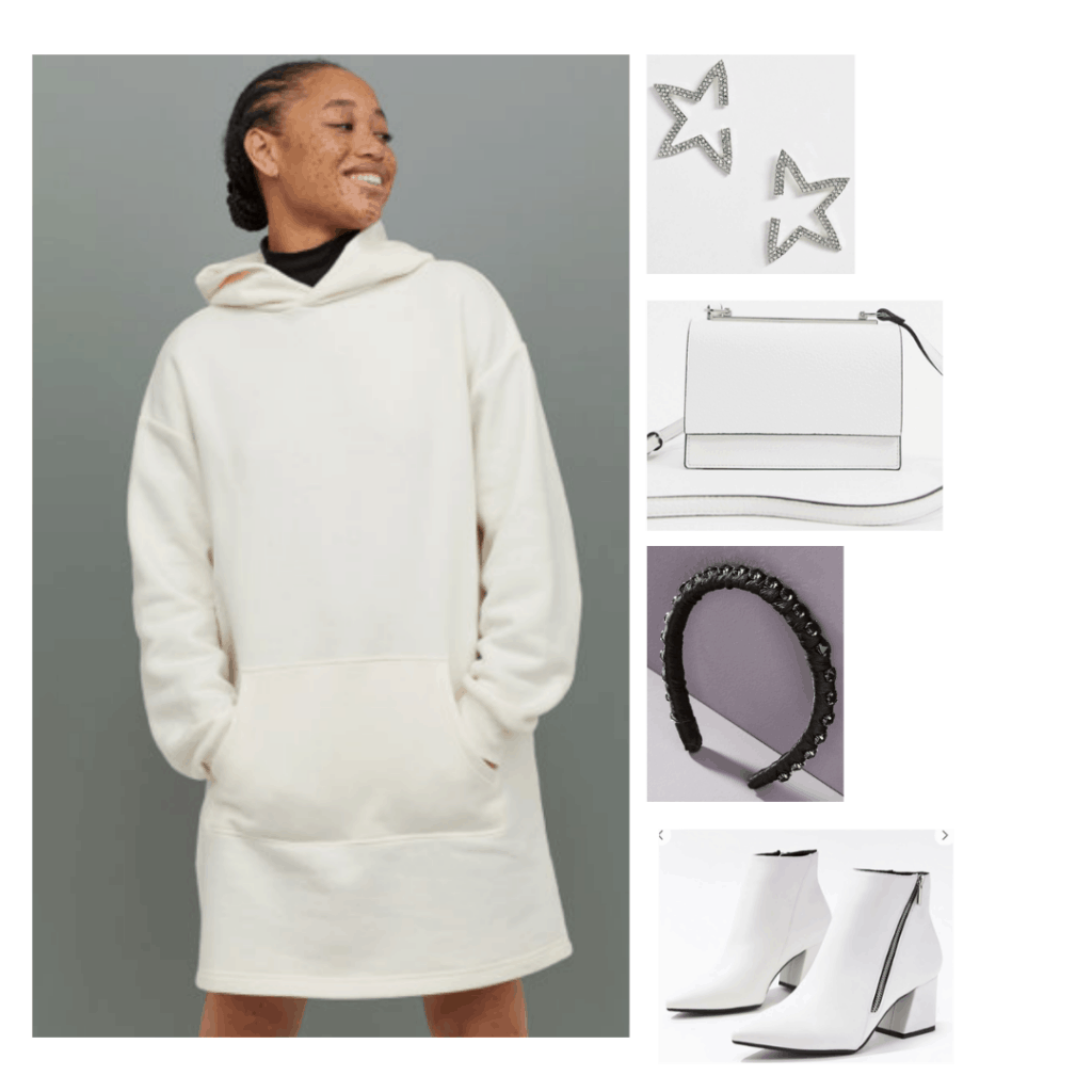 Princess Leia style outfit with oversized hoodie dress, white boots, white purse, headband, star earrings