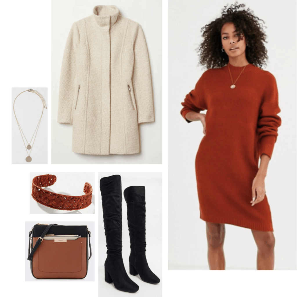 Princess leia style: Outfit inspired by Princess Leia's style in Empire Strikes Back with rust sweater dress, cream coat, black boots