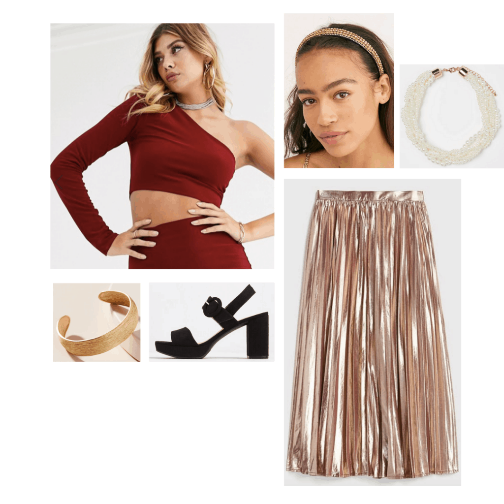 Princess Leia style: Outfit inspired by Princess Leia with gold lame pleated skirt, one shoulder crop top, gold jewelry and heels