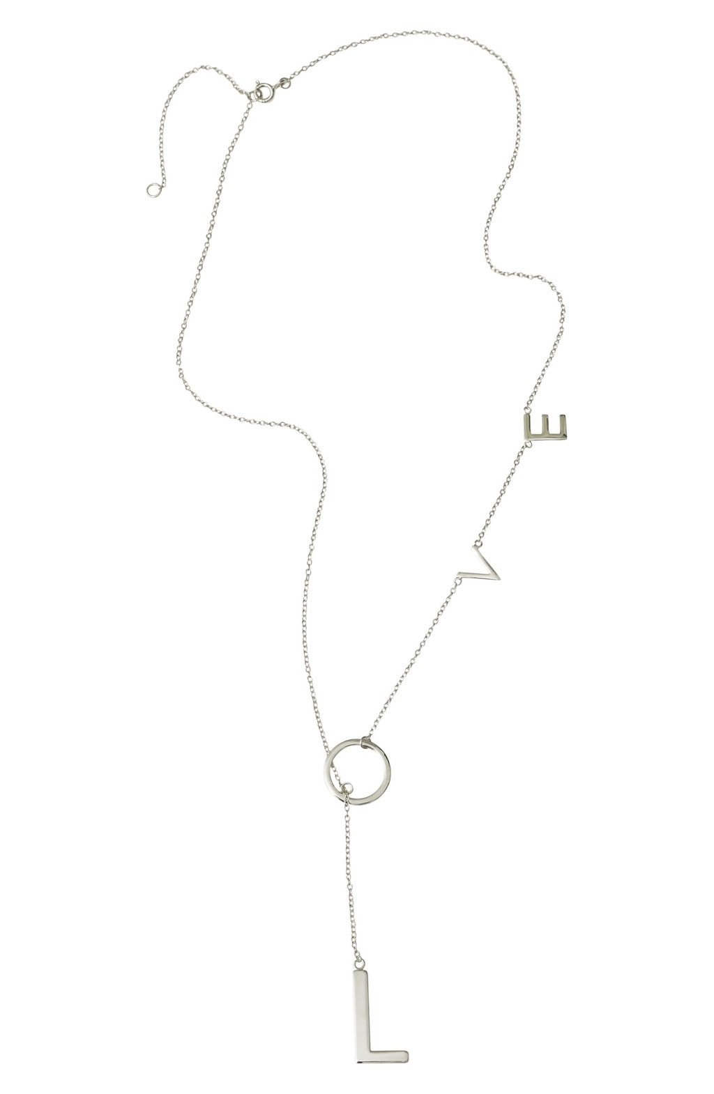 Adornia Love Lariat Necklace, popular silver jewelry style