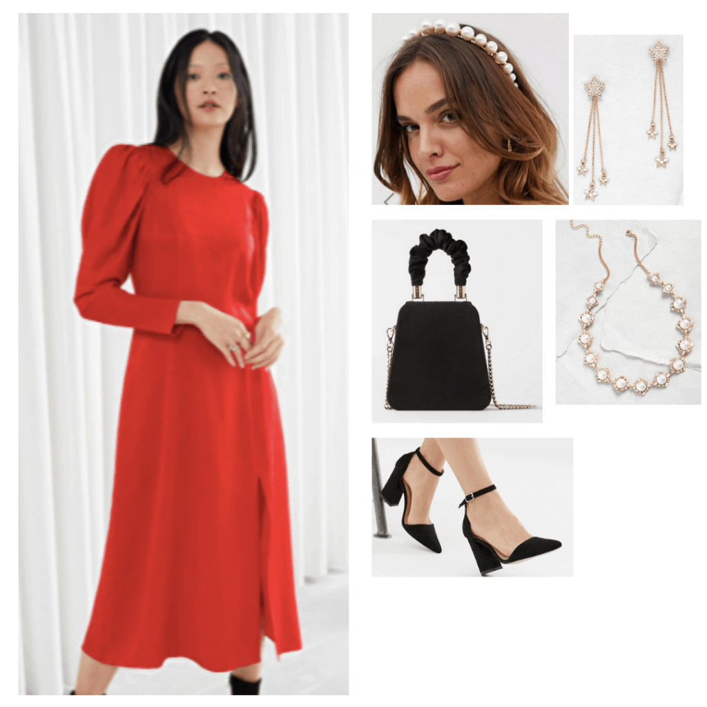 Padme Amidala outfit with red dress, regal headband, black mini purse, jeweled necklace, black pumps, and star earrings