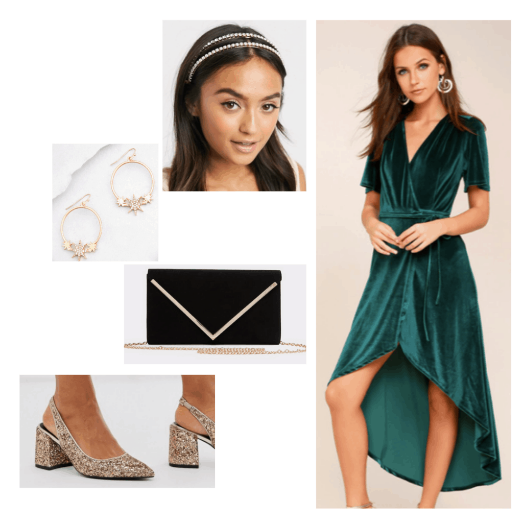 Padme Amidala outfit with green dress, gold glitter pumps, black envelope clutch, jeweled headband, star earrings