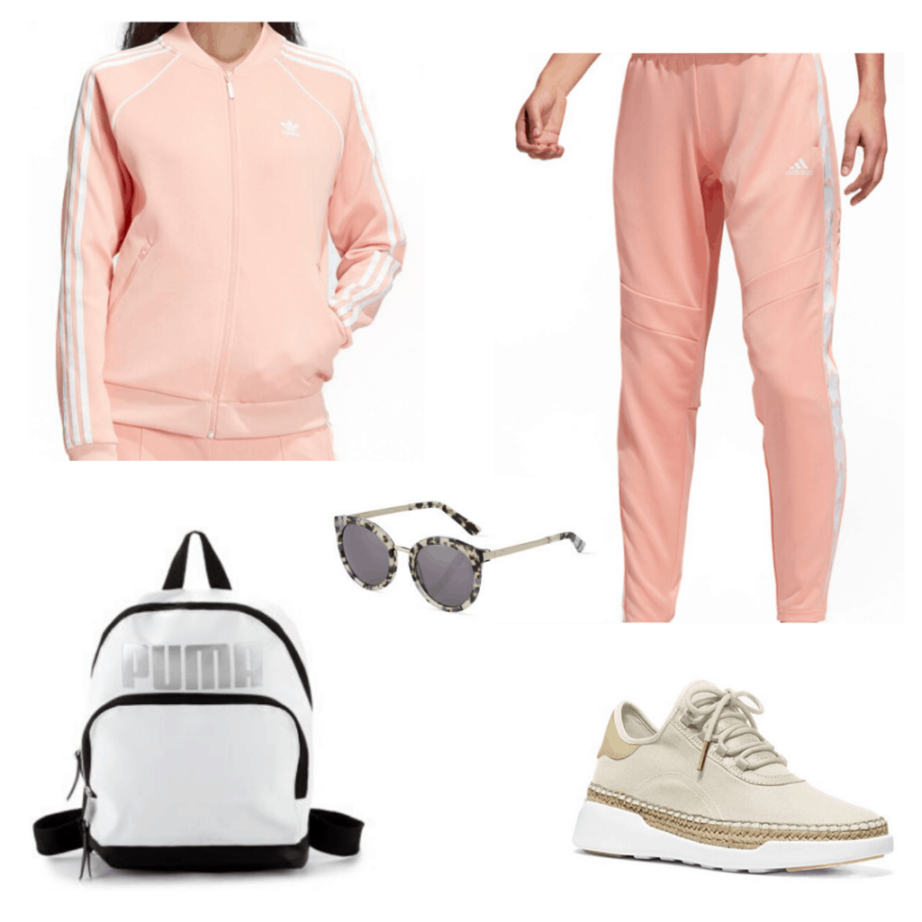 What to wear to school: Outfit idea with pink track suit, sneakers, backpack