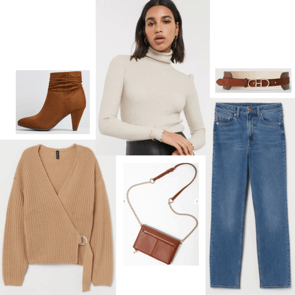 Rey outfit with wrap top, medium wash jeans, brown boots