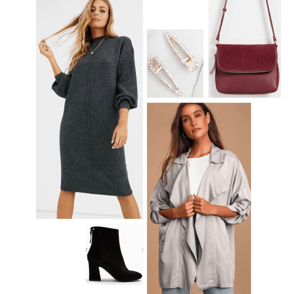 Rey outfit with gray sweater dress, gray trench coat, red bag, hair clips, black boots
