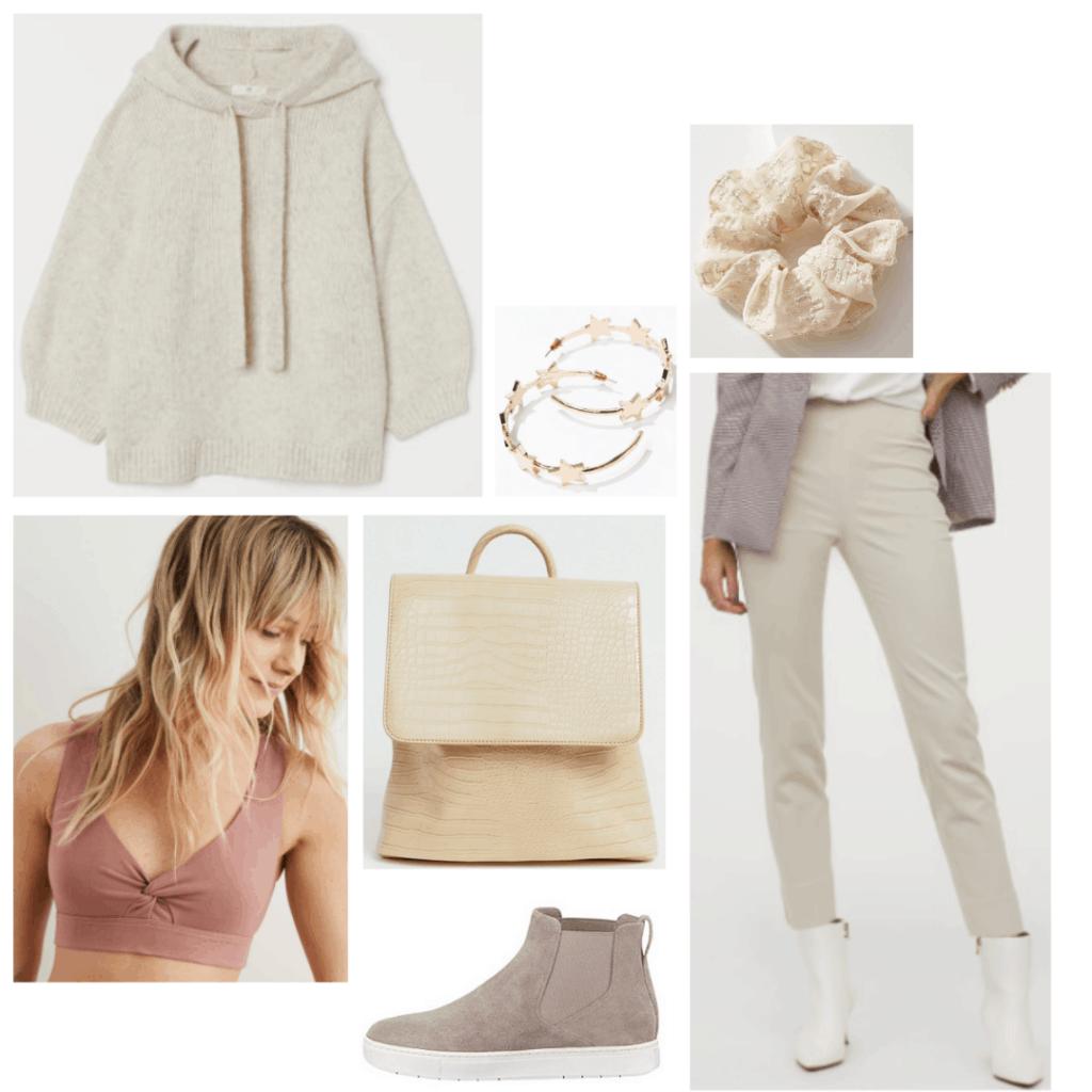 Rey outfit from Star Wars - beige pants, beige hoodie, sports bra, sneakers, and flap backpack