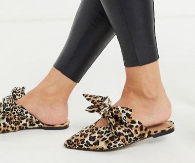 Leopard print slides.