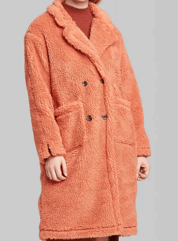 Affordable teddy coats roundup - Sherpa pea coat in coral