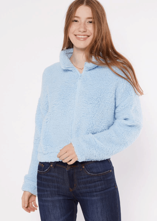 Affordable teddy coat from Rue 21 in light blue