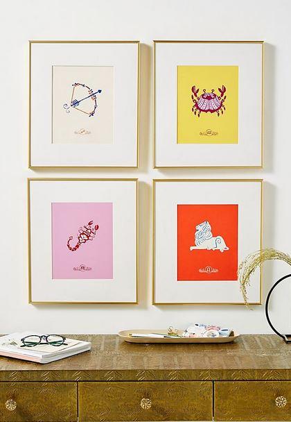 Colorful zodiac prints.