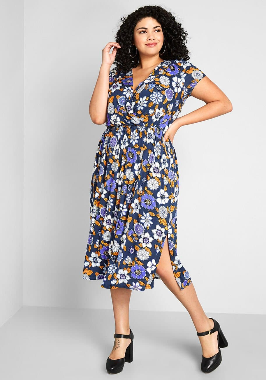 Dark blue surplice-neckline midi