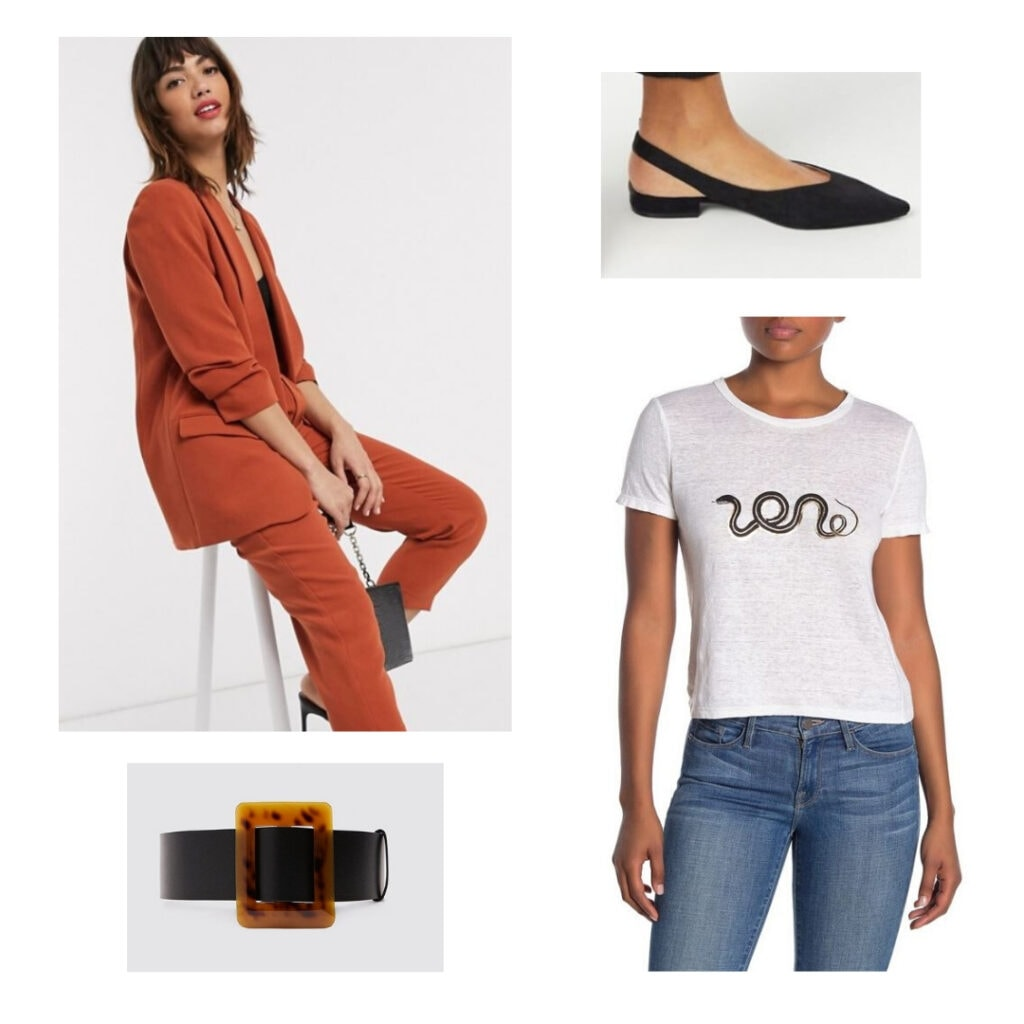 Orange pantsuit, snake t-shirt, blackflats, and belt.