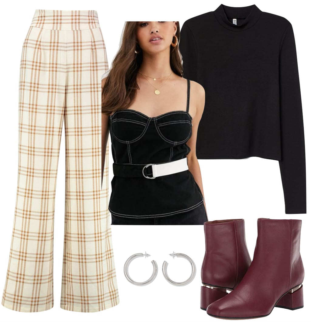 Camila Mendes Outfit: cream plaid wide-leg pants, black and white contrast stitch corset top, black mock neck top, silver hoop earrings, and burgundy ankle booties