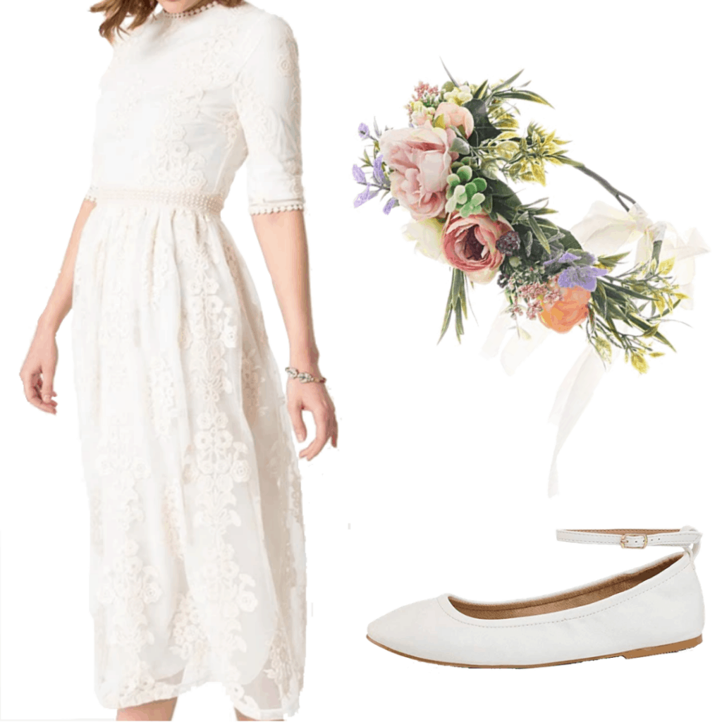 Sabrina Spellman outfit with white dress, white ballet flats, and flower crown