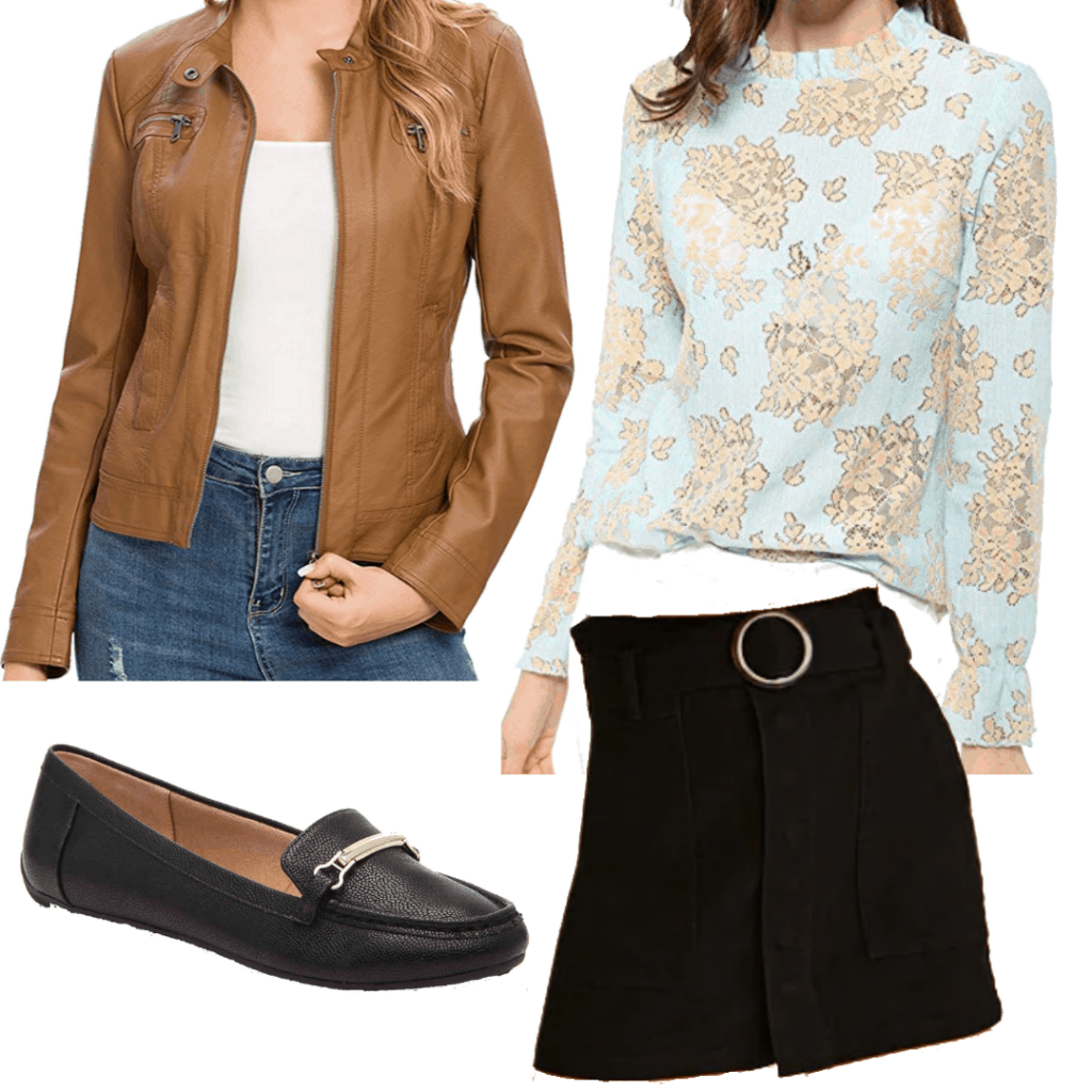 Sabrina Spellman style: Outfit inspired by Sabrina from The Chilling Adventures of Sabrina with black skirt, printed blouse, brown leather jacket, and loafers