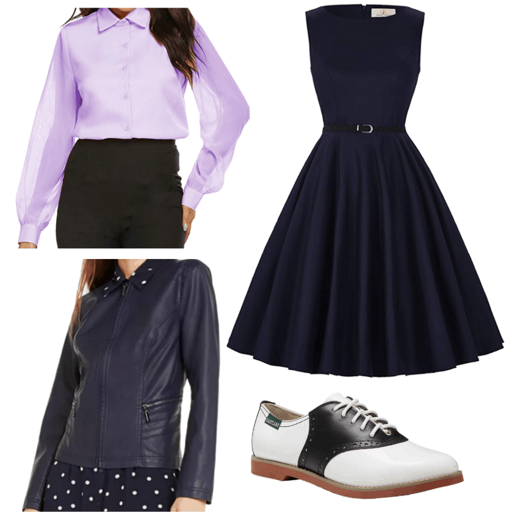 Sabrina Spellman style: Outfit inspired by Sabrina from The Chilling Adventures of Sabrina with navy dress, purple shirt, oxfords, and navy leather jacket