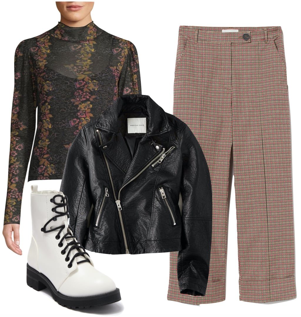 Hilary Duff Outfit: black moto jacket, sheer mesh floral print mock neck top, plaid button straight leg pants, and white lace-up combat boots