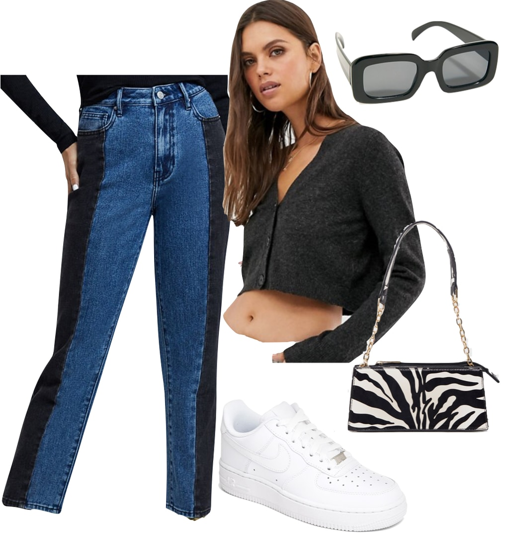 Kendall Jenner Outfit #1: dark gray cropped cardigan, two tone straight leg jeans, zebra print shoulder bag, black rectangle sunglasses, and white Nike Air Force 1 sneakers