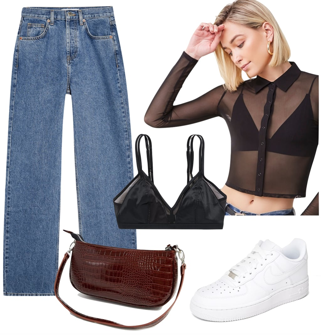 Kendall Jenner Outfit #2: black sheer mesh button front top, black satin bralette, brown croc shoulder bag, and white Nike Air Force 1 sneakers