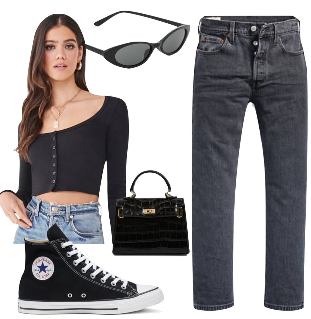 Kendall Jenner Outfit #3: black cropped cardigan top, gray straight leg jeans, black oval sunglasses, black mini croc handbag, and black high top Converse Chuck Taylor All Star sneakers